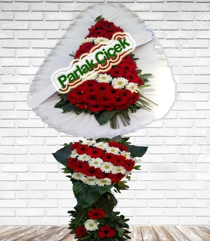 Kırmızı Beyaz Çiçekli Çift Katlı Ayaklı Çelenk Açılış Çiçeği Şahane