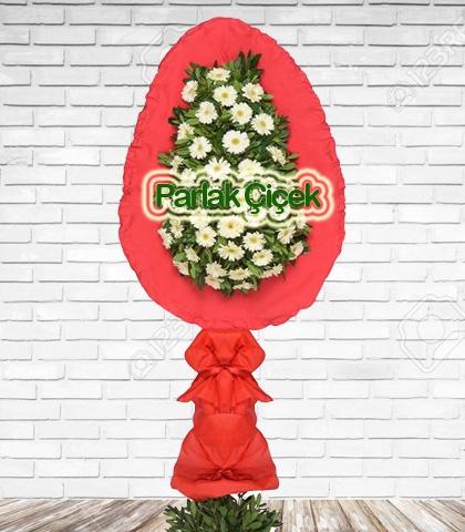 Beyaz Çiçekli Tek Katlı Düğün Çelenk