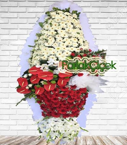 Lüx Kırmızı Beyaz Açılış Düğün Ayaklı Çelenk