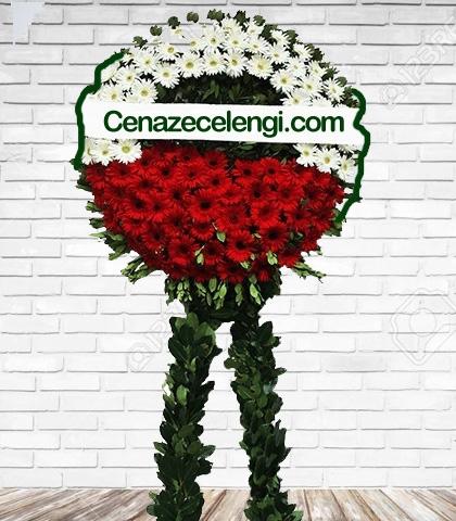 Cenaze Çelengi Kırmızı Beyaz