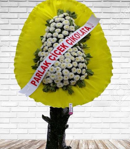 Beyaz Çiçekli Tek Katlı Ayaklı Çelenk