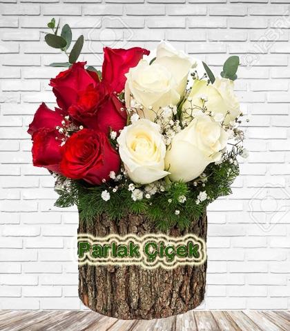 Bizim Çiçekçi Ahşap Beyaz Kırmızı Gül