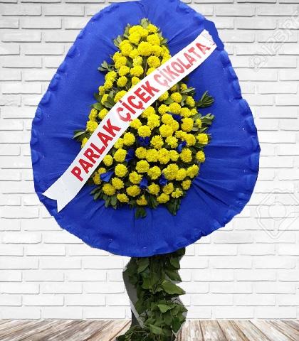 Mavi Sarı Tek Katlı Ayaklı Çelenk