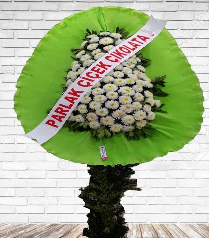 Yeşil Beyaz Çiçekli Tek Katlı Düğün Çelenk