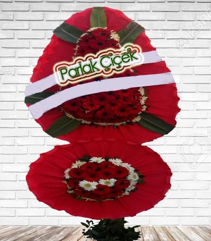 Kırmızı Beyaz Çiçekli Çift Katlı Ayaklı Çelenk Düğün Çiçeği