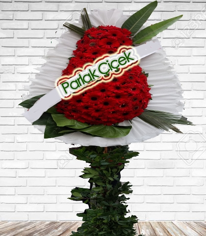 Kırmızı Açılış Çiçeği Ayaklı Çelenk