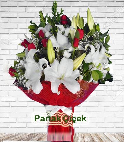 Beyaz Kırmızı Lilyum Gül Buket