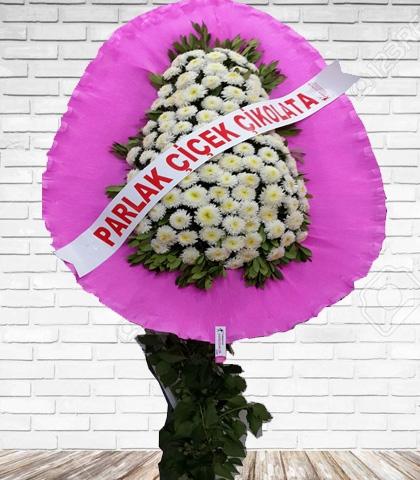 Pembe Beyaz Çiçekli Tek Katlı Ayaklı Çelenk