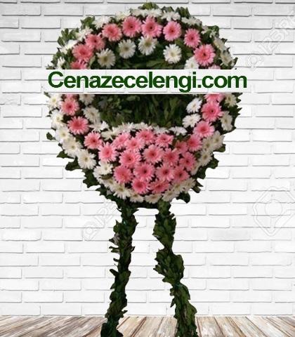 Cenaze Çelengi Pembe Beyaz Gerberalı